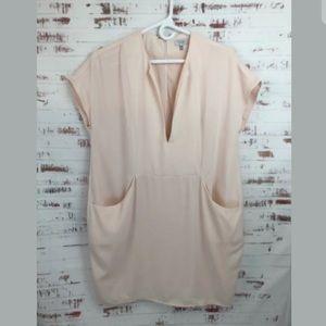 TOBI Shift Dress Blush Pink Deep V-Neckline